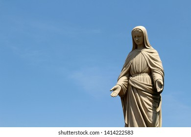 A closeup of statue of Mary at Trappist Monastery of Our Lady of the Annunciation in Japan. Taken in Oita, April 2018