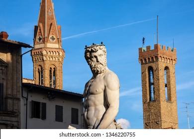 Close-up of the statue of Neptune, Roman God, fountain (Bartolomeo Ammannati 1560-1565) in Piazza della Signoria, Florence UNESCO world heritage site, Italy, Europe