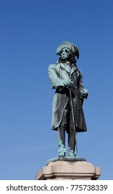 Close-up of statue representing Sweden's King Charles XI (1655-1697) at Stortorget square in Karlskrona, performed by John Borjeson (1835-1910) and erected in 1897.