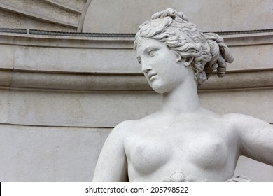 Close-up of the Statue of Venus on the Facade of the Lloyd Palace in Trieste, Italy