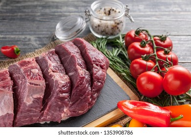 Close-Up Steaks raw Black Angus meat. Fresh meat on a cutting board