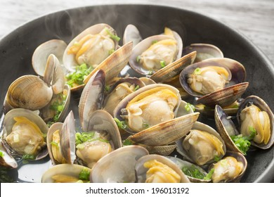 Close-up of steamed clams