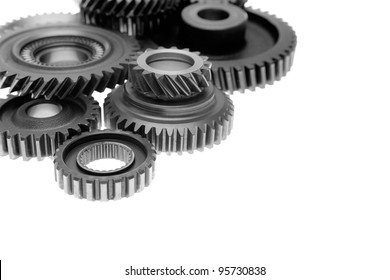 Closeup of steel cogwheels together