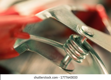 Closeup of a steel spring clamp