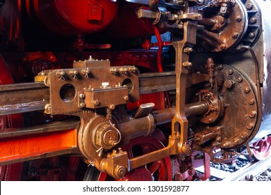 close-up of the steerage of a steam train series 03 of the Deutsche Reichsbahn