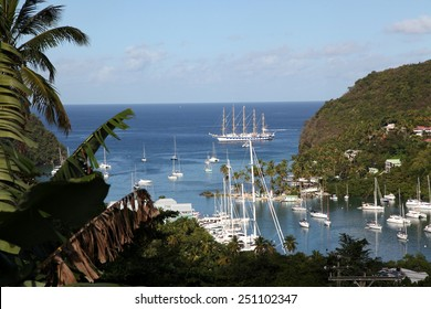 Close-up of the stern of a Yacht moored against the quay in Marigot bay, St. Lucia, Caribbean