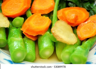 Closeup of stir fried Chinese Kai Lan vegetables stem. Commonly eaten in Cantonese cuisine. Suitable for food and beverage, healthy eating and diet and nutrition concepts.