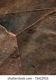 closeup of stitched together pieces of leather