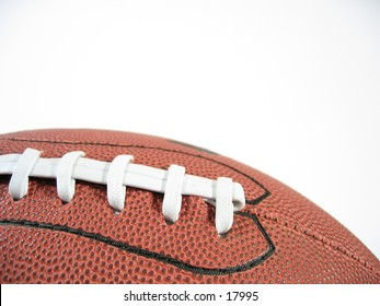 Close-up of the stitches of an American Football.