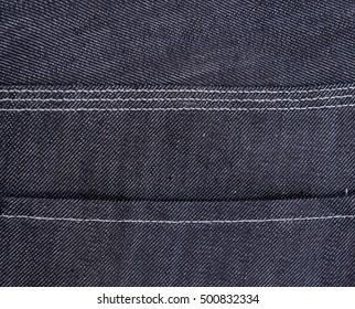 Closeup of stitching of denim jeans