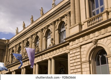 closeup of the stock exchange in Frankfurt in Germany