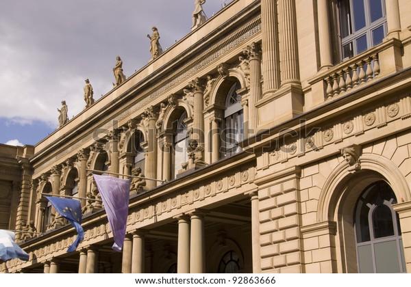 Nahaufnahme der Börse in Frankfurt