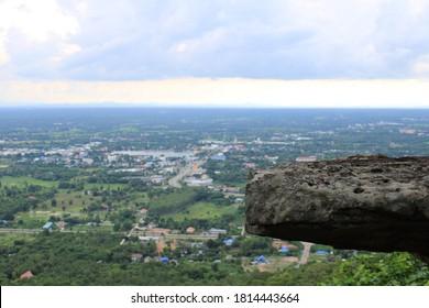Close-up of stone on the mountain at Wang Bua Ban National park of Nong Bua Lam Phu, Thailand. Selective focus.