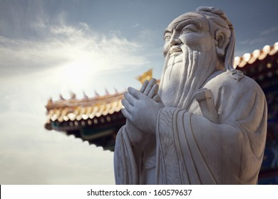 Close-up of stone statue of Confucius