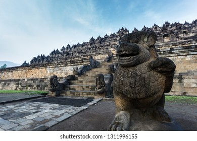Closeup of stone statue god protecting the multi-terraced Borobudur Temple 9th-century Mahayana Buddhist temple in Magelang Regency,in Java, Indonesia