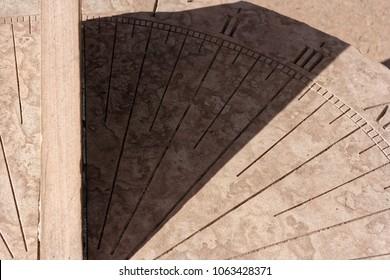 Closeup of Stone Sundial in the Sun