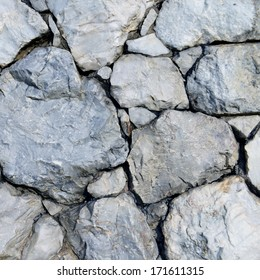 Closeup of stone wall background and texture