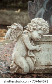 closeup of stoned angel in cemetery