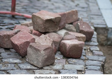 closeup of stoned cobbles for road paving construction