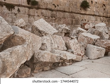 closeup of stones thrown from the second temple to the street below after the destruction of the temple in 70 CE - Shutterstock ID 1744544072