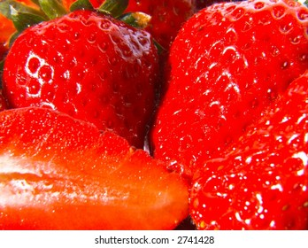 A close-up of strawberries