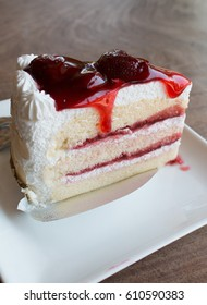 Closeup of strawberry cake.