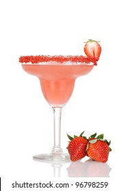 closeup strawberry daiquiri with fresh fruit