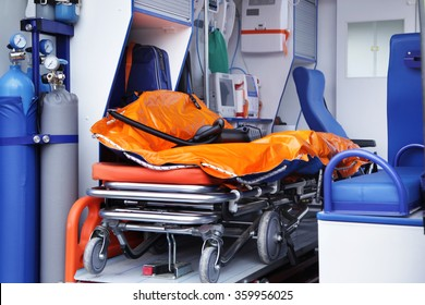Closeup stretcher and medical equipment inside in ambulances