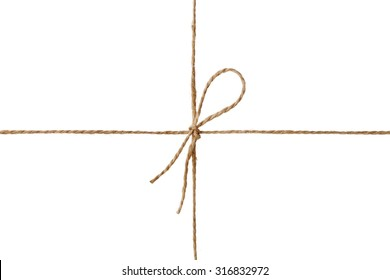 Closeup string or twine tied in a bow isolated on white background