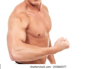 Closeup of strong arm bodybuilder over white isolated background