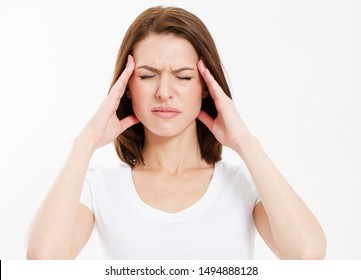 closeup Strong female migraine, Suffering woman head pain isolated