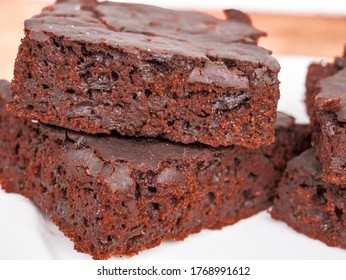 Close-up of the structure and pieces of beet, inside home made chocolate beetroot brownies