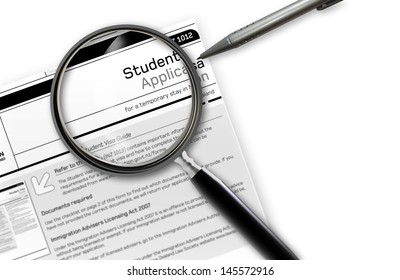 Close-up of  student work visa application document for temporary stay