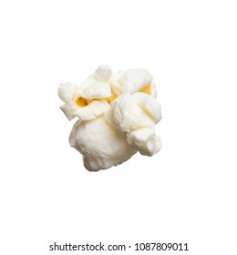 Close-up of studio classic shot salted popcorn isolated on white background. Tasty pop corn for cinema or snack.