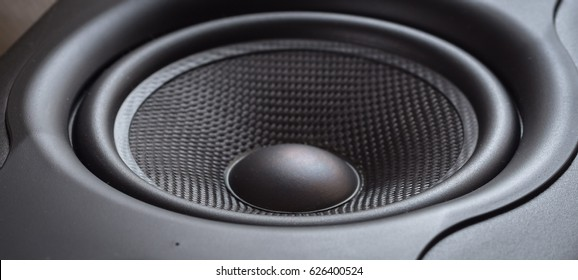 closeup of studio monitor speaker