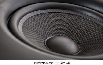 Closeup of studio monitor speaker woofer. Macro view. Shallow DOF