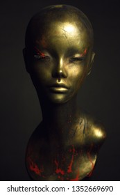 Closeup studio shot of colored woman mannequin with stylish decoration, dark background