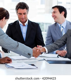 Close-up of successful business people closing a deal in a meeting