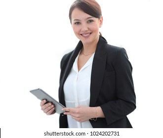 closeup of a successful young business woman with tablet computer