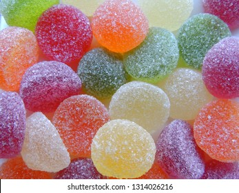 Closeup of sugar covered jelly candies