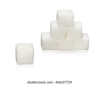 Closeup sugar cube isolated on white background with clipping path.