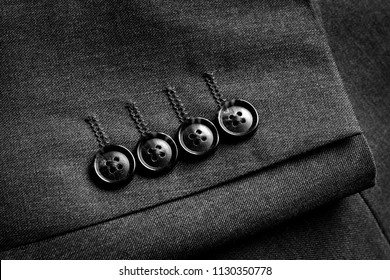 Closeup of suit buttons for business or formal wear