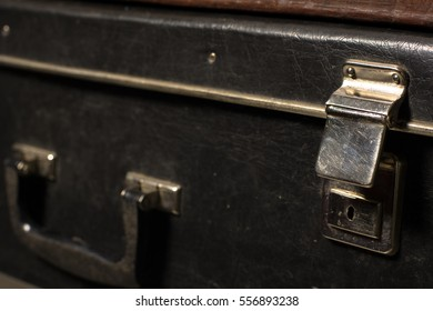 Close-up of a suitcase. Iron Castle vintage bag. Place of storage
