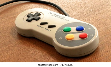 "Close-up Super Family Computer's Controller. This is Retro game console Made by Nintendo, aka ""SNES"" in Worldwide. 2017 Aug 25th"