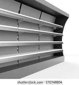 Closeup of supermarket shelf. 3D rendering