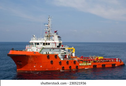 Close-up of a supply vessel transporting cargo to nearby rigs