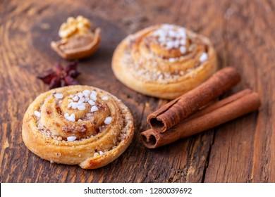 closeup of swedish kanelbullar with sugar
