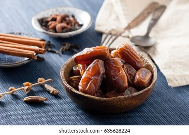 closeup sweet dried date palm fruits or kurma, ramadan (ramazan) food