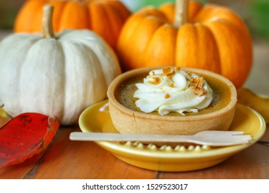 Closeup at sweet Homemade Pumpkin Pie top with whipped cream on yellow plate with blurred pumpkins background.Mini tart made for Thanksgiving day in autumn.Holiday or food concept.
