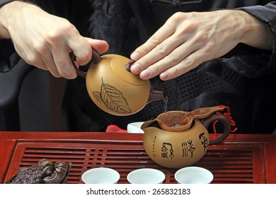 Close-up table for the tea ceremony utensils and bamboo on white background studio